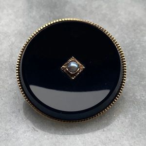 14K Onyx Pearl Mourning Brooch Pendant